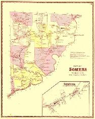 19th century map of Somers, Collection of Somers Historical Society - Click to see enlarged image